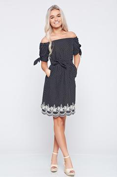Fekete LaDonna hétköznapi váll nélküli hímzett ruha