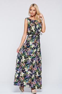 Fekete Top Secret hosszú ruha virágmintás díszítéssel