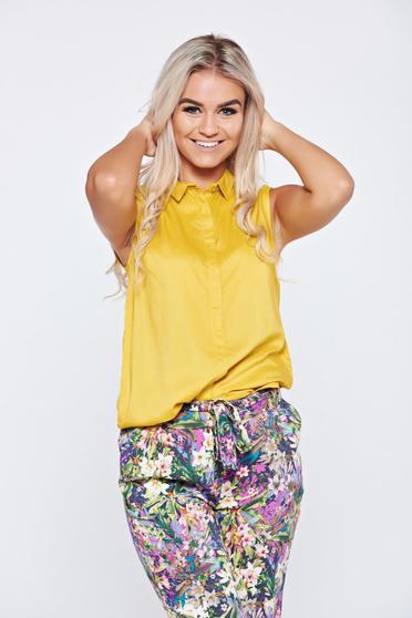 Sárga Top Secret galléros ujjatlan hétköznapi női ing