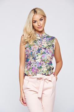 Rózsaszínű Top Secret ujjatlan virágmintás női ing