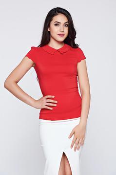Piros Fofy pamutból készült rövid ujjú irodai női ing