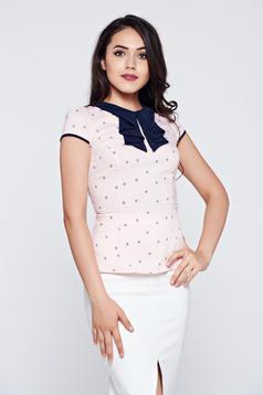 Barackvirágszínű pamutból készült rövid ujjú Fofy irodai női ing