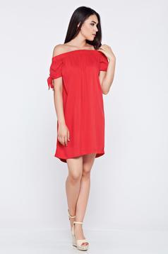 Piros Top Secret bő szabású váll nélküli ruha