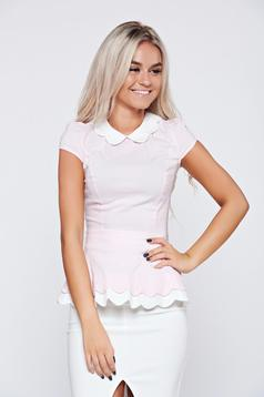 Rózsaszínű pamutból készült Fofy rövid ujjú női ing