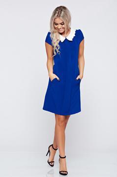 Kék Fofy bő szabású zsebes ruha