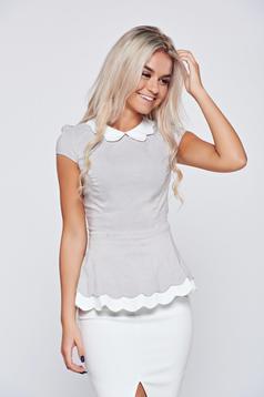 Szürke pamutból készült Fofy rövid ujjú női ing