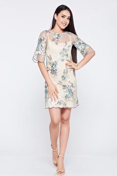 Szürke LaDonna alkalmi hímzett ruha csipkés anyagból