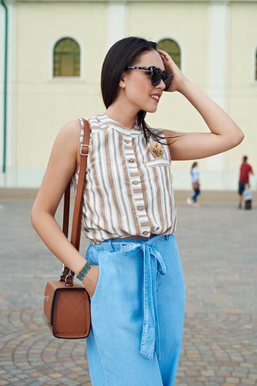 Barna hétköznapi rövid csíkos női ing