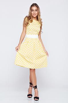 Sárga LaDonna a-vonalú pamutból készült pöttyös ruha