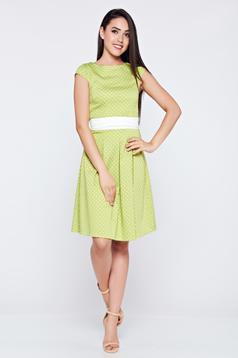 Világos zöld LaDonna a-vonalú pamutból készült pöttyös ruha