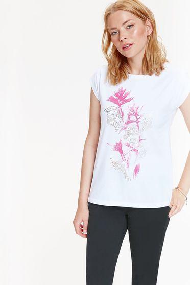 Fehér Top Secret hétköznapi rövid ujjú pamutból készült póló