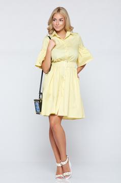 Sárga PrettyGirl a-vonalú hétköznapi ruha harang ujjakkal