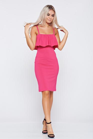 Pink StarShinerS pántos ceruza ruha fodrokkal a mellrészen