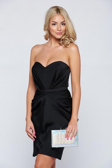 Fekete Ana Radu alkalmi ruha szatén anyagból