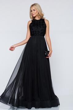 Fekete Ana Radu hosszú tűll estélyi ruha