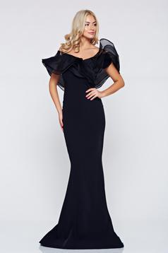 Fekete Ana Radu alkalmi hosszú fodros ruha