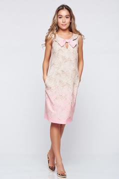 Rózsaszínű Fofy elegáns ujjatlan ruha masni díszítéssel