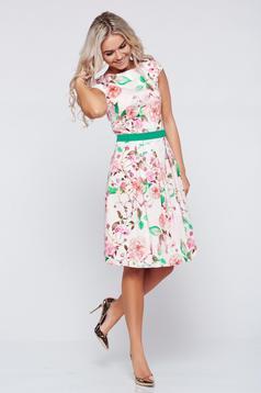 Barackvirágszínű LaDonna a-vonalú pamutból készült ruha virágmintás díszítéssel