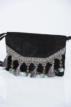 Fekete táska bojtos hosszú, állítható pánt