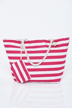 Pink táska vízszintes csíkok strandi