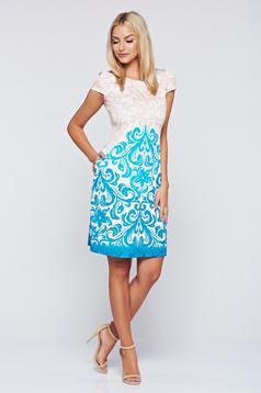 Türkiz elegáns Fofy zsebes bő szabás ruha
