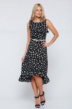 Fekete StarShinerS aszimetrikus a-vonalú pamutból készült ruha