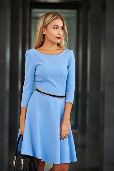 Kék StarShinerS harang alakú elegáns ruha szövetből