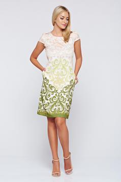 Zöld elegáns Fofy zsebes bő szabás ruha