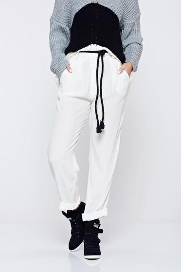Fehér PrettyGirl hétköznapi zsebes bő szabású nadrág