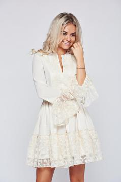 Bézs PrettyGirl vászon ruha harang ujjakkal