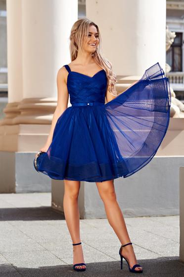 Kék Ana Radu harang alakú alkalmi tűll ruha