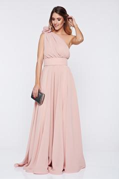 Rózsaszínű Ana Radu egy vállas alkalmi ruha fátyol anyag