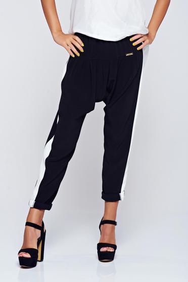 Fekete PrettyGirl hétköznapi derékban rugalmas nadrág
