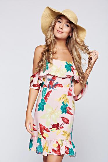 Pink Top Secret hétköznapi váll nélküli fodros ruha