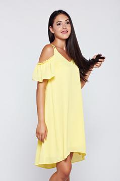 Sárga Top Secret váll nélküli bő szabású fodros ruha