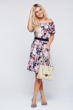 Rózsaszínű LaDonna váll nélküli bő szabás ruha