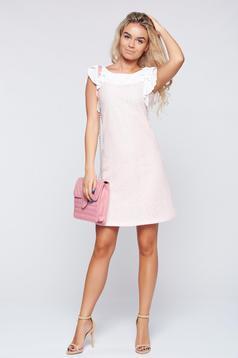 Rózsaszínű LaDonna elegáns ruha fodrozott ujjakkal