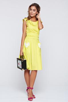 Sárga LaDonna hímzett pamutból készült harang alakú ruha