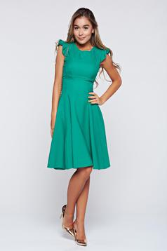 Zöld Fofy harang alakú ruha fodrozott ujjakkal
