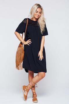 Fekete hétköznapi bő szabású rövid ujjú ruha