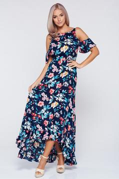Sötétkék virágmintás StarShinerS ruha