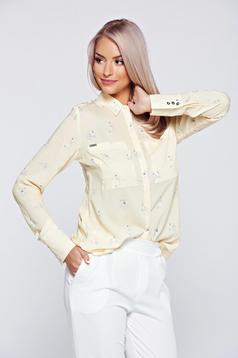 Sárga Top Secret női ing lenge anyagból hegyes gallér