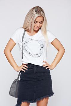 Fehér Top Secret póló rugalmas pamut grafikai mintával