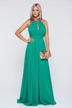 Zöld Fofy alkalmi ujjatlan harang alakú ruha