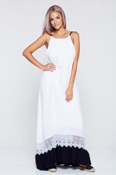 Fehér StarShinerS ruha hátul kivágott bő szabású pántok