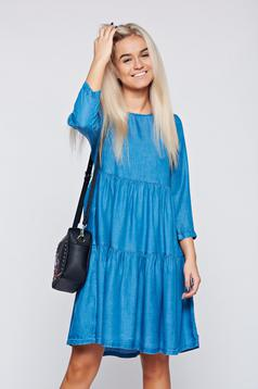 Kék Top Secret hétköznapi bő szabású ruha farmerarnyagból