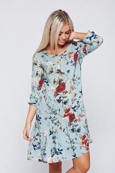 Kék Top Secret ruha bő szabás virágmintás díszítéssel