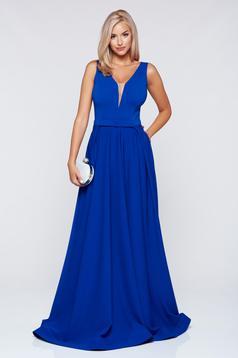 Kék LaDonna ujjatlan alkalmi ruha dekoltázzsal