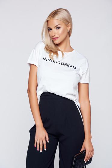 Fehér Top Secret pamutból készült hétköznapi póló
