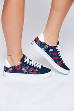 Fekete Adidas originals hétköznapi sport cipő virágmintás díszítéssel